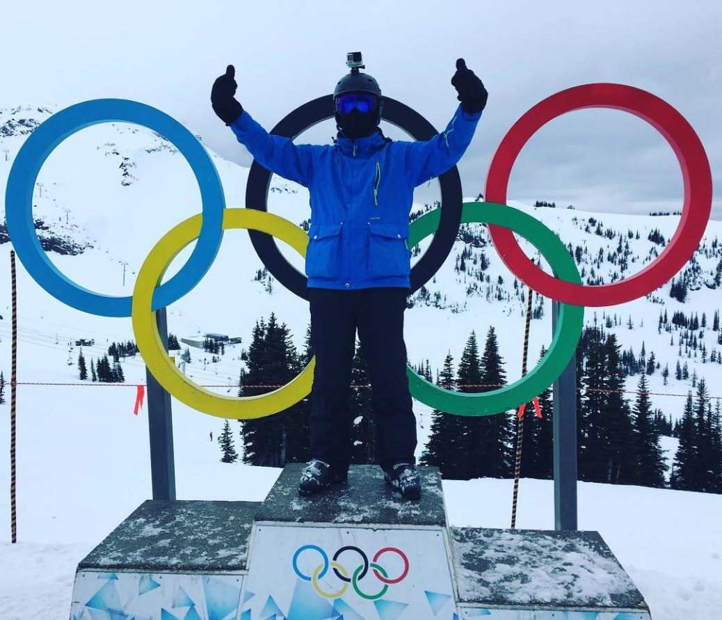 Shelton on the Olympic stand in Whistler Blackcomb