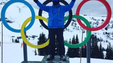 MV Shelton on the olympic stand at #whistler